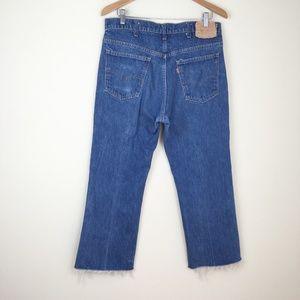 Vintage 70s LEVIS 517 Denim Jeans Raw Cropped Hem